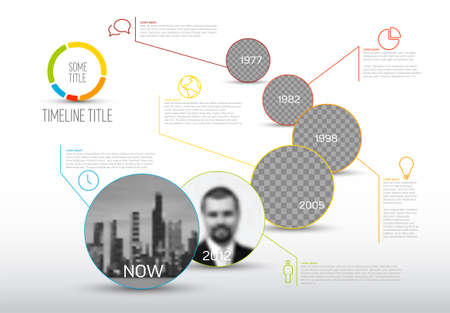 Vector Infographic timeline template made from circle photo placeholders with text content - light version with simple color line. Time line infochart with pictures in circle windows.