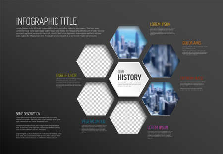 Vector dark Infographic template made from hexagon photo placeholders with text content - dark version with simple color line. Infographic infochart with pictures in hexagon windows.
