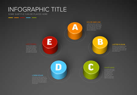 Vector multipurpose Infographic template made from five color cylinders chart with numbers descriptions and legend - dark background version with five elements Ilustracje wektorowe