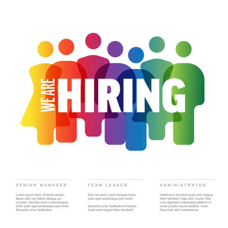 We are hiring minimalistic flyer template - looking for new members of our team hiring a new member colleages to our company organization team from a crowd 일러스트