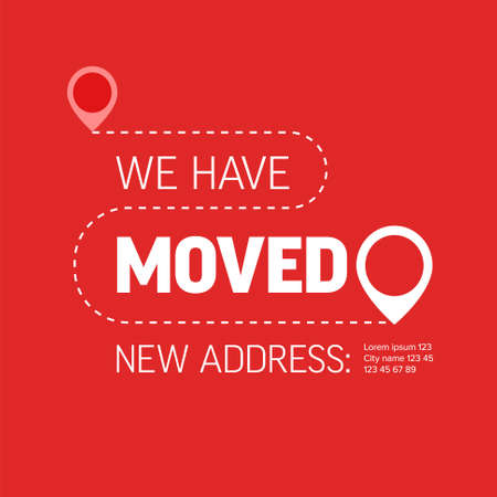 We are moving from one address to another address - minimalistic flyer template with place for new company office shop location address. Template for poster flyer with new address after relocation. 일러스트
