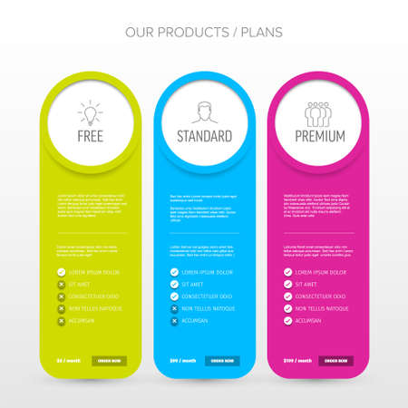 Pricing table light template with three options product subscription types with list of features and price - free, standard and premium version option card