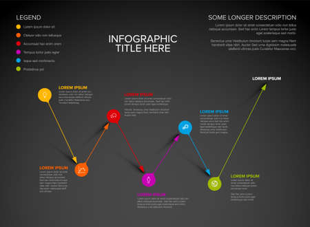 Vector multipurpose Infographic template made from pointer pins on abstract path with icons, descriptions and legend. Point to point path with arrow pin pointers and text elements dark version