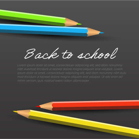 Back to school dark template for flyer newsletter banner header or social media post status image. Colorful crayons on white paper with place for your advertisement 일러스트