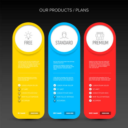 Pricing table dark template with three options product subscription types with list of features and price - free, standard and premium version option card 일러스트