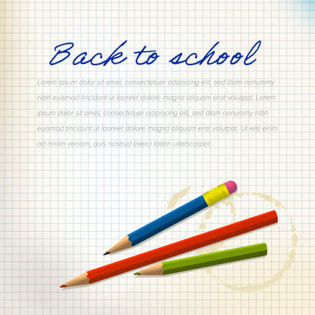 Back to school poster with detailed pencil and space for your content. Back to school flyer newsletter banner template with some content place
