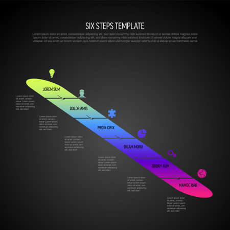 Six vector diagonal progress steps template with arrows and descriptions. Simple minimalistic progress procedure schema template with six steps elements in modern gradient on dark background 일러스트