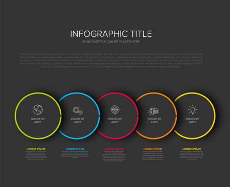 Vector process progress template diagram schema with five steps icons and descriptions. Dark circles on black background with color border frames and minimalistic arrow