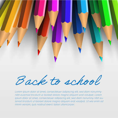 Back to school template for flyer newsletter banner header or social media post status image. Colorful crayons on white paper with place for your advertisement