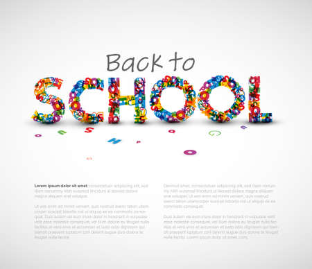 Back to school vector flyer with illustration of school heading made from colorful letters. Newsletter for september back to school promotions 일러스트