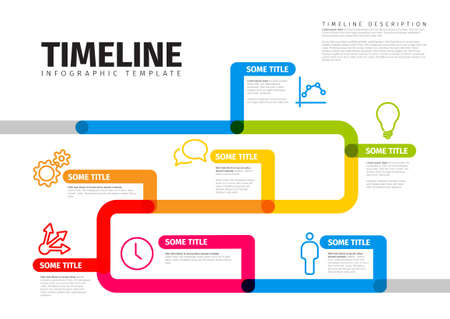 Vector Infographic timeline report template with thick lines and icons. Color infochart template for time line history path with various milestones 일러스트