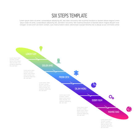 Six vector diagonal progress steps template with arrows and descriptions. Simple minimalistic progress procedure scheme template with six steps elements in modern gradient on light background
