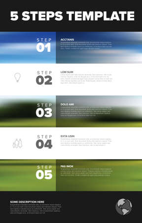Five vector progress block steps template with descriptions, big numbers and icons and bigh photo placeholders in the background. Five steps vertical sequence with tasks descriptions 일러스트