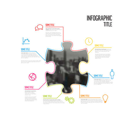 Vector puzzle Infographic report template made from lines and icons in the shape of puzzle piece with big photo placeholder in the middle. Puzzle infographic template 일러스트