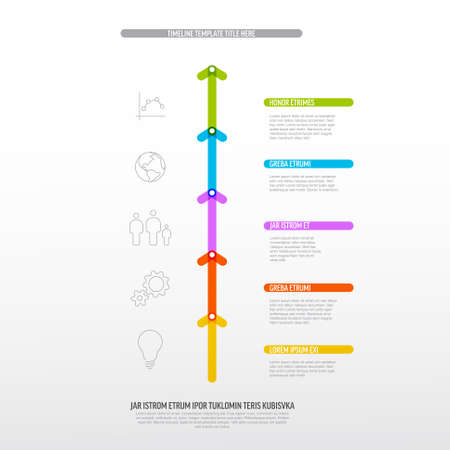 Vector vertical Infographic Company Milestones Timeline Template with colorful arrow and titles on the line. Rainbow color vertical time line template