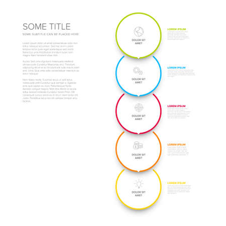 Vector vertical process progress template diagram schema with five steps icons and descriptions. White circles on light background with color border frames and minimalistic arrow