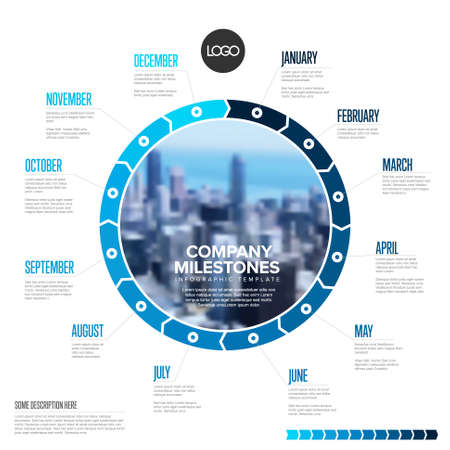 Full year timeline template with all months on circle blue blocks. All months of the year on one infographic time line layout with photo in the middle 일러스트