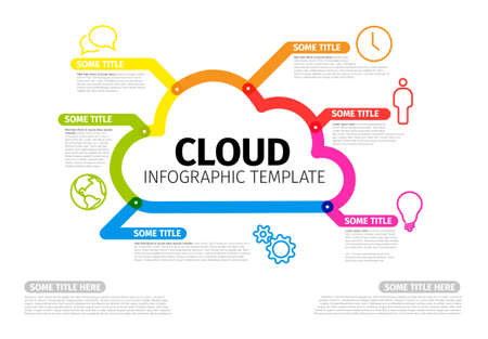 Vector Infographic report template made from thick color lines and icons with cloud storage. Cloud illustration infograph template layout on light background