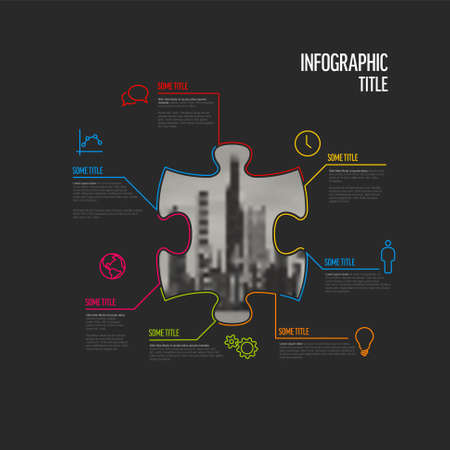 Vector dark puzzle Infographic report template made from lines and icons in the shape of puzzle piece with big photo placeholder in the middle. Puzzle infographic template