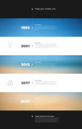 Stripped timeline template with background photo placeholders. Vector Infographic Company Milestones Time line Template with photo placeholders as horizontal stripes 일러스트