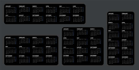 Collection of vector black calendar layout templates for the year 2022. Four layout versions of dark template with all calendar months and blue accent - simple minimalistic calendar template
