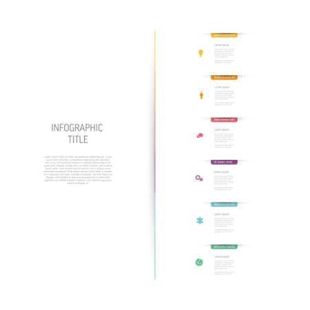 Light multipurpose Six vertical infographic elements with colored bookmarks and icons on white background. Minimalistic simple infograph with six sections and descriptions