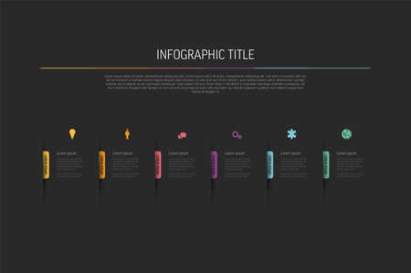 Dark multipurpose Six infographic elements with colored bookmarks and icons on black background. Minimalistic simple infograph with six sections and descriptions 일러스트