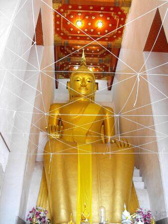 gold: Big buddha statue gold elegant in chapel