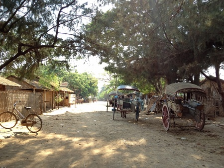working animal: Resting horse drawn carriage, the animal working in ava inwa myanmar Stock Photo