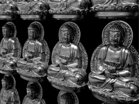 chinese buddha: chinese buddha statue, black and white