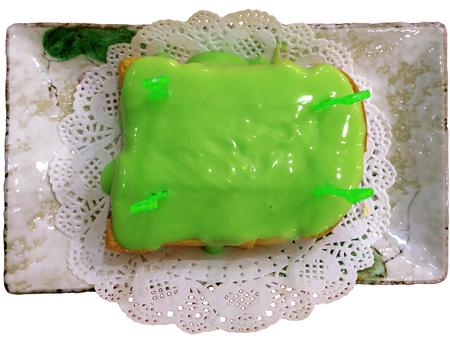 custard slice: Bread with green steamed pandan custard