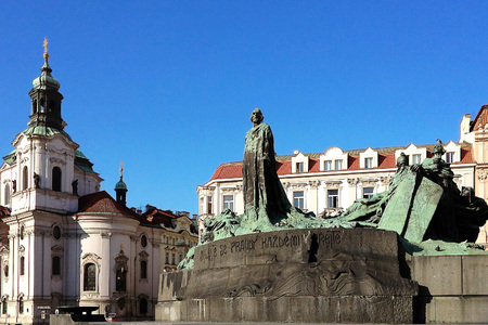 stare mesto: PRAGUE, CZECH REPUBLIC - NOVEMBER 13, 2012: Jan Hus Memorial on Old Town Square , Stare Mesto view, Prague, Czech Republic.