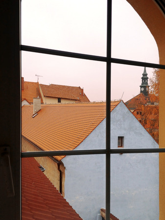 ceska: View through a window, Ceska lipa, Czech Republic Stock Photo