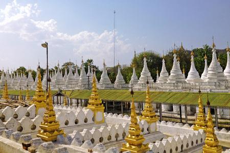 stupas: Stupas of Kuthodaw Pagoda in Mandalay,Myanmar Stock Photo