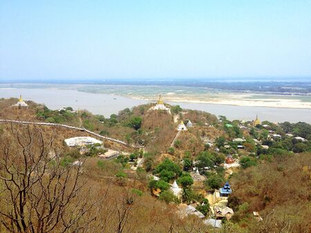 aisa: view of Sagaing hil from Soon U Pond Nya Shin Paya Pagoda, Sagaing City, The Old City of Religion and Culture near Mandalay, Myanmar.