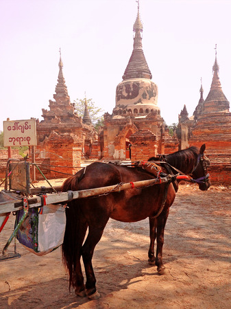 horse drawn carriage: Horse Drawn Carriage parking in front of Temple in Inwa ancient city, Mandalay Myanmar Stock Photo