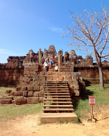 Eastern Mebon temple at Angkor wat complex, Cambodia. Built during the reign of King Rajendravarman, it stands on what was an artificial island at the center of the now dry East Baray reservoir. Editorial