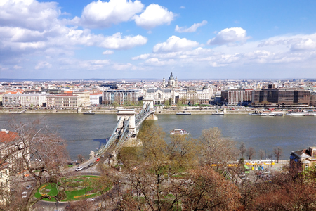 bastion: Top view of the Budapest and The Szechenyi Chain Bridge from Buda Castle. Hungary. Stock Photo