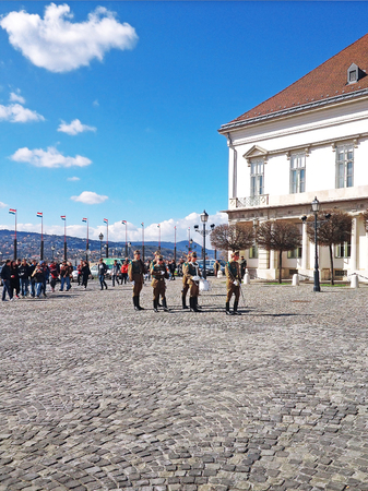 castle district: Budapest, Hungary - March 03, 2014 : Presidential guard Budapest, Hungary. Hungarys presidential office in the Castle District is heavily guarded by presidential guards. Editorial