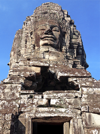 statue Bayon Temple Angkor Thom, Cambodia. Ancient Khmer architecture. Stock Photo