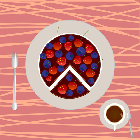 blueberry pie: Vector cake with cup of coffee Illustration