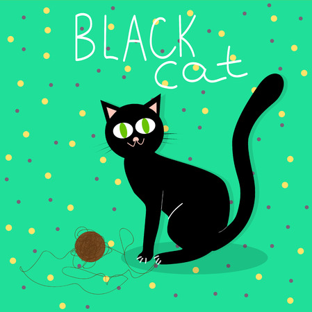 kitty: Black cat plays with wool ball
