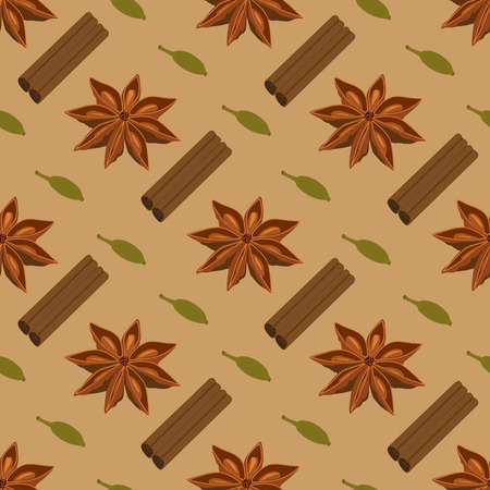 anise: Spices seamless pattern. Star anise cardamon cinnamon sticks
