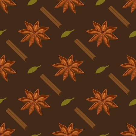 anise: Spices seamless pattern. Star anise cardamon cinnamon stick Illustration