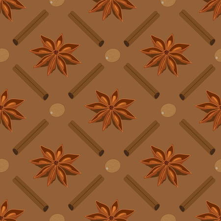 cinnamon sticks: Spices seamless pattern. Star anise nutmeg cinnamon sticks