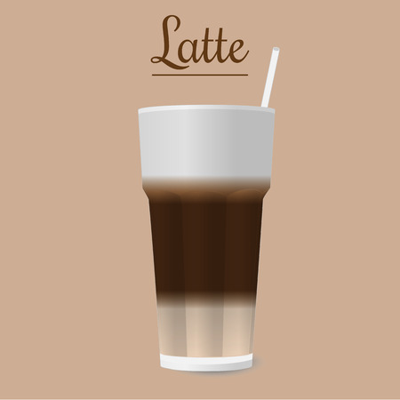 tubule: Vector illustration of latte in glass with tubule