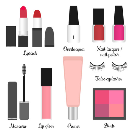Vector illustration of cosmetics set for a makeup 1