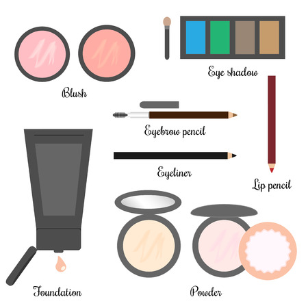 eyebrow makeup: Vector illustration of cosmetics set for a make-up