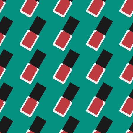 red nail colour: Nail lacquer or nail polish seamless pattern. Red nail polish on a green background Illustration