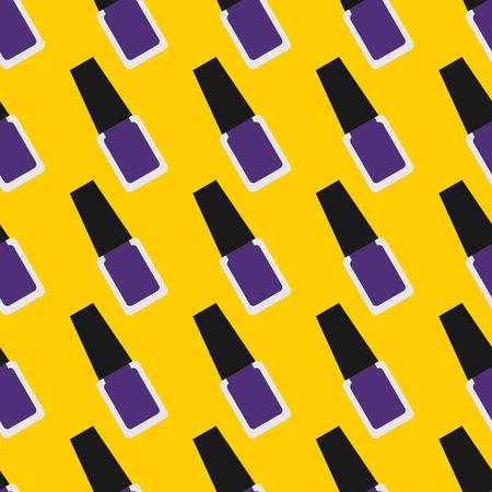 nail lacquer: Nail lacquer or nail polish seamless pattern. Purple nail polish on a yellow background